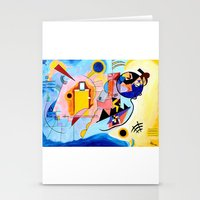 kandinsky Stationery Cards featuring Yellow Red Blue - Tribute to Kandinsky by ArtvonDanielle