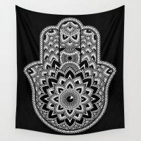 hamsa Wall Tapestries featuring Hamsa by Black Sheep