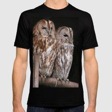 Tawny Owls in Nature Black Mens Fitted Tee MEDIUM