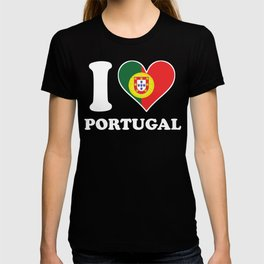 I Love Portugal Portuguese Flag Heart T-shirt