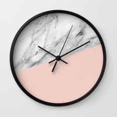 Marble and pale dogwood color Wall Clock