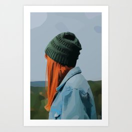 Red head girl with beanie and jeans jacket outdoors Art Print