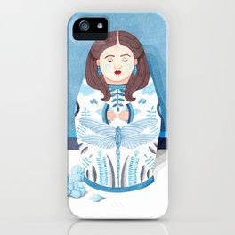 Blue matrioska iPhone Case