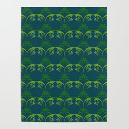 Green Wheat Floral Poster