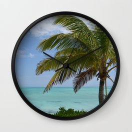 Tropical Paradise With Palm Wall Clock