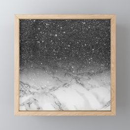 Stylish faux black glitter ombre white marble pattern Framed Mini Art Print