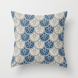 Mid Century Modern Flower Pattern Blue and Gray 112 Throw Pillow