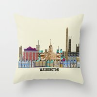 washington Throw Pillows featuring washington dc  by bri.buckley