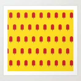 Red Popsicles - Yellow Background Art Print