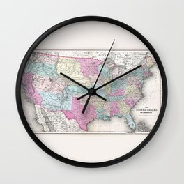 1857 Colton Map of the United States of America Wall Clock