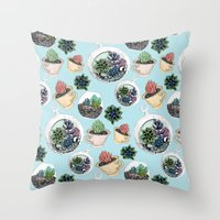 succulents Throw Pillows featuring Succulents by Sofia Kraushaar