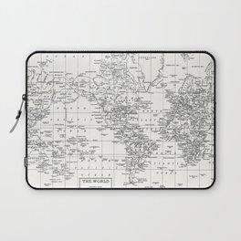 White World Map Laptop Sleeve