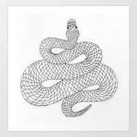 snake Art Prints featuring Snake by Syrupea