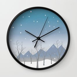 Winter landscape with trees Wall Clock