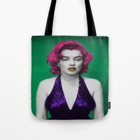 monroe Tote Bags featuring Monroe by POP Prints by FMcLaws