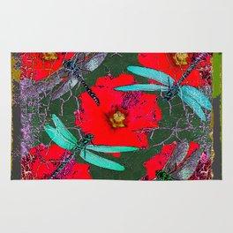 ANTIQUE CRACKLED  BLUE DRAGONFLIES ON RED HOLLYHOCK FLOWERS Rug