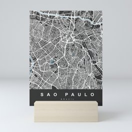 Sao Paulo City Map | Brazil | Black | More Colors, Review My Collections Mini Art Print