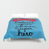 super hero Duvet Covers featuring Embrace Your Inner Super Hero by Claudine Intner | Mixed Media Artist
