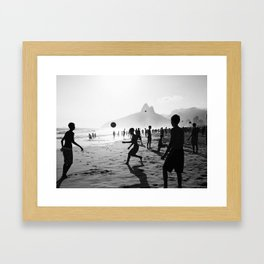 Beach Soccer at Ipanema Framed Art Print