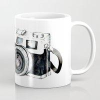 vintage camera Mugs featuring Vintage camera  by Bridget Davidson