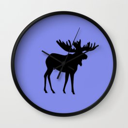 Bull Moose Silhouette on Periwinkle Wall Clock