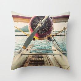 Seaplane Dock Throw Pillow
