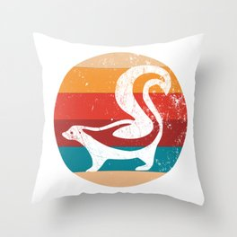 Vintage Skunk Lover Retro 70s Style Silhouette Gift Throw Pillow