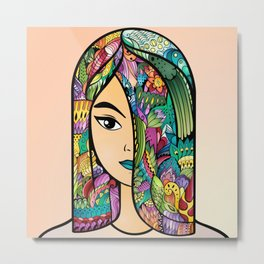 Girl With Colorful Hair Metal Print