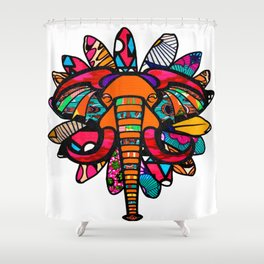 Orange and Purple African Colorful Elephant Shower Curtain