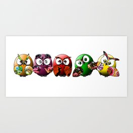 Owls Family Art Print