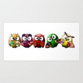 Owls Family Art Print