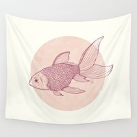 lonely Wall Tapestries featuring Lonely Goldfish by Mike Koubou