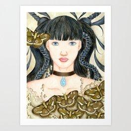 Moth Girl Art Print