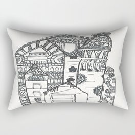 45. Halloween Castle with Henna Wall Rectangular Pillow