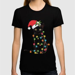 Santa Black Cat Tangled Up In Lights Christmas Santa Graphic T-Shirt