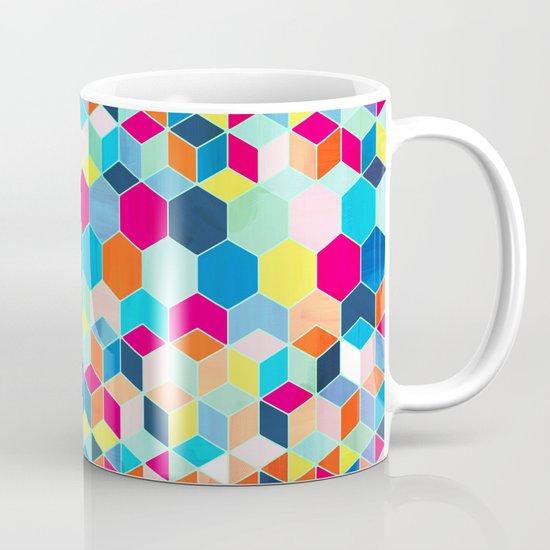 Super Bright Color Fun Hexagon Pattern Mug