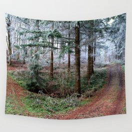 the red forest crossing Wall Tapestry