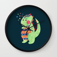 trex Wall Clocks featuring Green Dino by haidishabrina