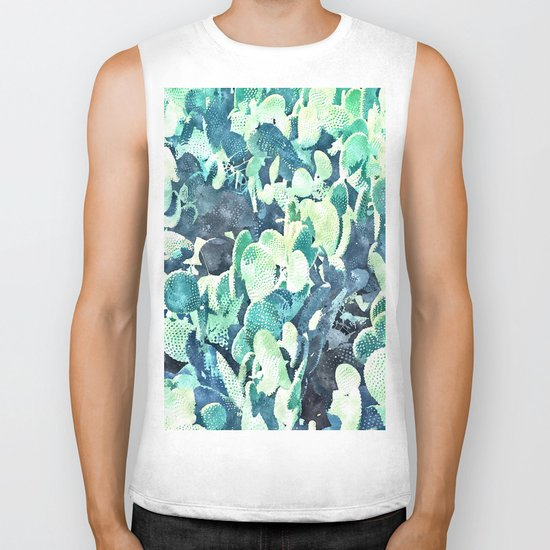Watercolor Cactus ||| #society6 #decor #buyart Biker Tank