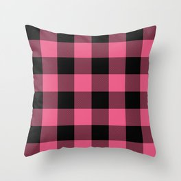 Pink & Black Buffalo Plaid Throw Pillow