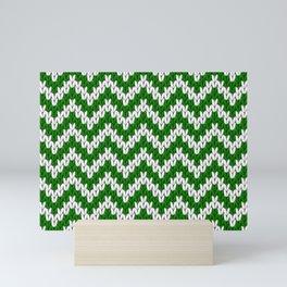 Green Christmas knitted chevron large scale Mini Art Print