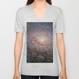 Galaxy Messier 63 Deep Field Telescopic Photograph Unisex V-Neck