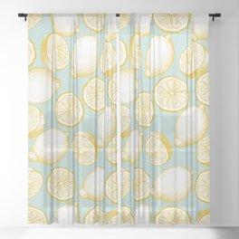 Lemons On Turquoise Background Sheer Curtain