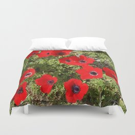 Wild Anemone Flowers In A Spring Field Duvet Cover