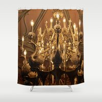 chandelier Shower Curtains featuring Swan Chandelier by PerfectPixel