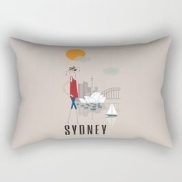 Sydney - In the City - Retro Travel Poster Design Rectangular Pillow