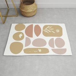 Boho Organic Shapes and Floral Illustrations in Desert Clay and Sand Colors Rug