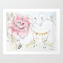 Happy Baby Birds Art Print