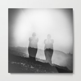 Girl on Mount Untersberg in the Austrian Alps -  Black and White Film Photograph Metal Print