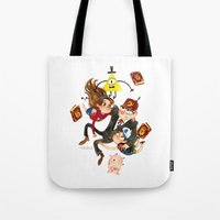gravity falls Tote Bags featuring Gravity Falls Hug by Super Group Hugs